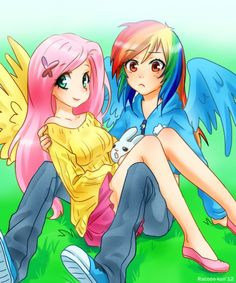 Rainbow Dash and Fluttershy as humans. Rainbow Dash will always be my girl!