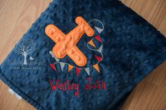 Personalize Minky Baby Blanket - Airplane Banner Applique - Choice of Colors by LullabyGardens on Etsy