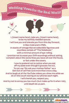 Traditional wedding vows are too formal and serious. This is why funny wedding vows are the perfect solution, People don't forget funny. And even if you do, your loved ones won't. Modern Wedding Vows, Wedding Vows Examples, Funny Wedding Vows, Traditional Wedding Vows, Wedding Vows To Husband, Best Wedding Speeches, Best Man Wedding, Wedding Quotes, Wedding Humor