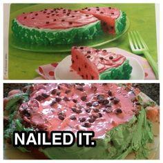 This poor, unfortunate watermelon cake:
