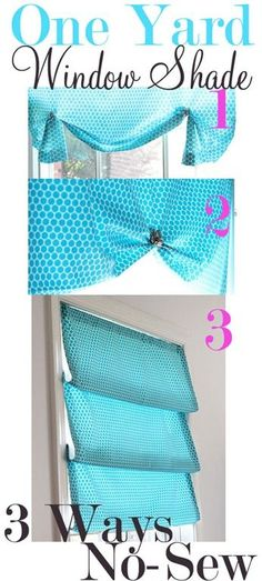 No-Sew-Window-Treatment---One Yard - 3 Ways {In My Own home design interior decorating design Diy Projects To Try, Home Projects, Sewing Projects, Diy Décoration, Diy Crafts, Easy Diy, Budget Crafts, Recycled Crafts, Decorating On A Budget