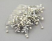 Bridal Hair Comb, Silver  Crystal Pearl Hair Comb , Bridal Hair Vines ,  Bridal Crystal Comb , Hair Leaf Accessories - Style 14-503