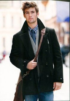 I hate cold weather, but if all men dressed like this, I would suck it up and enjoy watching them strut their stuff down the street. Also, his hair. That is all.