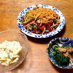 今日の晩ご飯♡♡ - 4件のもぐもぐ - 青椒肉絲•ほうれん草のおひたし•ポテトサラダ by tomomiM