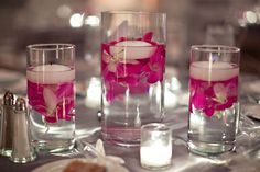 centerpiece - maybe with purple and orange flowers? - or even colored candles?