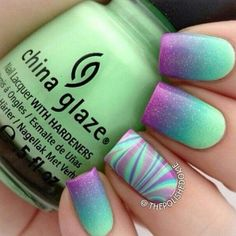 Turquoise, Blue, Green, Purple Gradient and Water Marbling Nails