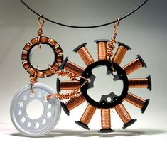 Upcycled Computer Jewelry Motor Bib Style by clonehardware on Etsy, $50.00