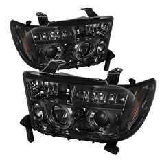 Toyota Tundra  2007-2011 Halo LED Projector Headlights  - Smoke