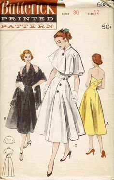 50s dress coat pattern cape jacket shawl black white yellow cocktail day summer button party sundress strapless halter Butterick 6084; Sz 16/Bust 34 AND Sz 14/Bust 32
