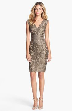 Tadashi Shoji Embellished Metallic Lace Sheath Dress available at #Nordstrom. Nice dress for a wedding.