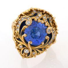 Zafiro azul, Old European Diamante, Oro y Esmalte Anillo de Marcus and Company suena la joyería antigua joyería Tiffany Lámparas Art Nouveau