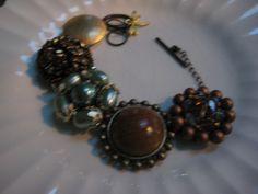 DV OOAK Vintage Bracelet (21) Repurposed, Vintage Earrings, Earth tones, Green by DragonflyVintiques on Etsy