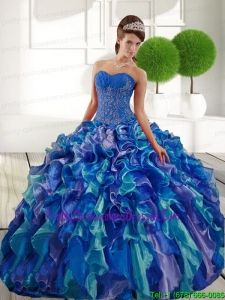 Delicate Sweetheart 2015 Quinceanera Dresses with Appliques and Ruffles