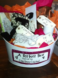 Bridal Shower Gift - perfect pairs basket. All the gifts came in pairs.