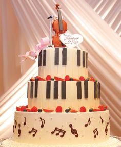 バイオリンの音色がケーキから響いてくるよう Violin Cake, Bolo Musical, Music Decor, Sugar Flowers, Fancy Cakes, Cream Cake, Themed Cakes, Cake Cookies, Yummy Cakes