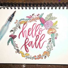 So glad it's finally officially Fall, even if it doesn't feel like it here in Texas! . . . . #fall #happyfall #autumn #hellofall #wreath #flowerwreath #florals #flowers #watercolor #watercolorlettering #lettering #handlettering #letterart #leaves #letterlove #moderncalligraphy