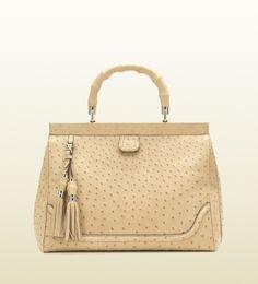 Regilla ⚜ ~ Gucci bold bamboo ostrich top handle bag