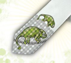 Mens Tie  Necktie Chameleon green way tracker  for him by tiestory, $25.00