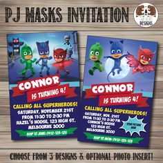PJ Masks Invitation. Choose from 3 Designs with Optional Photo Insert! Printable/Digital File by TwoBearsDesigns on Etsy https://www.etsy.com/listing/255197581/pj-masks-invitation-choose-from-3