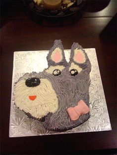 Schnauzer Birthday Cake - This birthday cake was for a schnauzer lover. She was told her three little schnauzers had it made for her. ;)