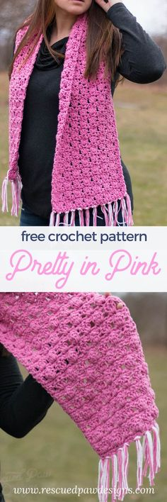 Make this easy crochet scarf today with this Free crochet scarf pattern! Pretty in Pink Crochet is a free crochet pattern from Rescued Paw Designs #Crochet www.rescuedpawdesigns.com