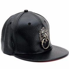 Men Women Faux Leather Baseball Hip-Hop Hat Adjustable Snapback Lion Bboy Cap
