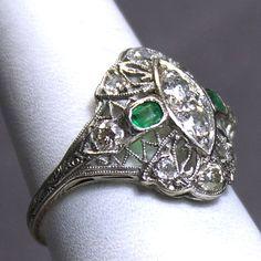 Platinum Art Deco .91tcw Diamond and Emerald by JMPierceJewelry