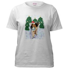 Santa Deer Art Women's T-Shirt by CafePress. Fallow deer wearing snowflakes and a Santa hat approach through a forest of glowing Christmas trees Enjoy this magical scene on clothing, housewares, and wall art this season Send a Christmas card. Art Women's T-Shirt Tee, TShirt, Shirt Our 100% cotton Women's tee is preshrunk, durable and guaranteed. 5.6 oz. 100% cotton. Standard fit.. Price: $27.50