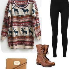 Winter wear . Oversized Sweater, Black Leggings, Brown Boots, Camel Cross Shoulder Purse.