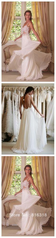 Sexy Backless Long Sheath Beach Lace Wedding Dresses, Beach Chiffon Bridal Gown, WD0091