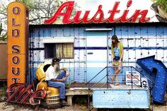 """Roadhouse Relics.  Famous """"Greetings from Austin"""" mural.  Lots of color and life.  You need permission to go inside (and it costs $75 to get the full tour of """"relics""""...but it's worth it).  If you don't want to pay, get the mural photo then walk around the neighborhood.  Nearby buildings offer bold colors."""