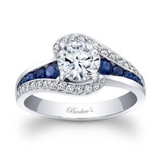 Round Cut White and Blue Sapphire Diamond Engagement Ring