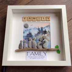Pebble Art Family gift family of six gift for her gift for