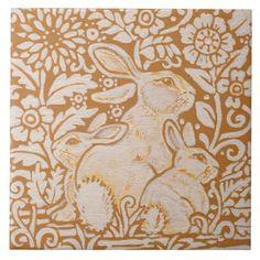 "Rabbit & Babies Floral Ceramic 6"" Tile Trivet Art - baby gifts giftidea diy unique cute"
