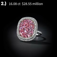 TOP 6 record-breaking diamonds for 2015 - the hammer went down at $28.55 million for the largest cushion-cut 16.08ct Fancy Vivid pink diamond ever to be offered at auction at #Christies this year. #pinkdiamond #auction #diamonds #luxury #jewelry #prettyinpink