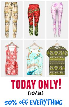 TODAY only (10/31) #sale #deals 50% off EVERYTHING on my #fashion store. #simpledress #tanktop #tshirt #leggings #yogapants #sweatpants  Check more designs at bit.ly/fashionpatterns #womenswear #menswear #clothing