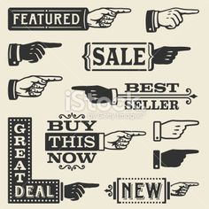 Hand Pointing Signs Royalty Free Stock Vector Art Illustration