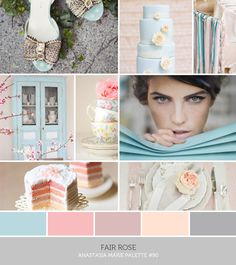 inspiration board: fair rose. rose. pink. blush. mauve. blue. gray.