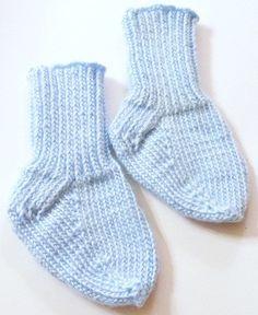 Knitted Blue Infant Socks   craftingmemories - Knitting on ArtFire