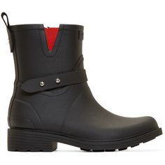 Rag And Bone Black Rubber Moto Rain Boots (260 CAD) ❤ liked on Polyvore featuring shoes, boots, wellington rubber boots, rain boots, wellington boots, black rain boots and black studded boots