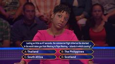 Today, contestant Kamari Aykes hopes for a game much longer than this question's flight on an all-new #MillionaireTV. But landing on the correct #FinalAnswer may be a challenge. Do you know it? Don't miss Monday's show with host Terry Crews and find out. Go to www.millionairetv.com for local time and channel to watch!