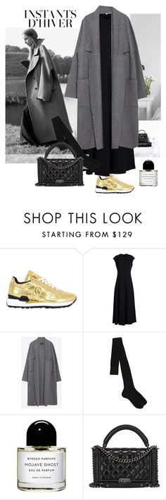 """INSTANTS D'IVER"" by marybloom ❤ liked on Polyvore featuring moda, Saucony, The Row, Zara, Maria La Rosa, Byredo, Chanel, sneakers, longdress y maxicoat"