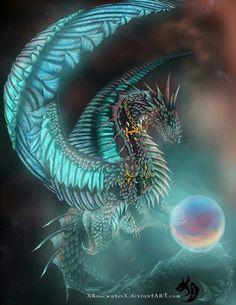Blue, neon, dragon, mystical ball, cool; Dragons