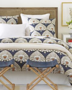 A classic from our pattern library, Serena's version of an Indian damask makes a bedroom instantly bold. Palmetto Duvet Cover & Sham #serenaandlily