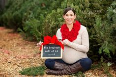 maternity photo shoot with christmas trees - Google Search