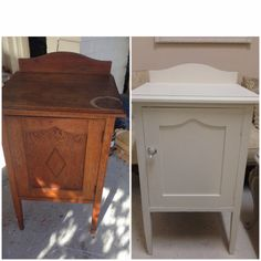 vintage pot cupboard before and after painting white