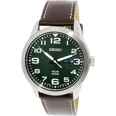Seiko Men's 'Solar' Brown Leather Watch, Green Size: One Size Fits All Mens Watches Leather, Leather Men, Brown Leather Watch, Seiko Men, Nato Strap, Online Watch Store, Vintage Watches For Men, Gifts For Your Boyfriend, Fine Watches