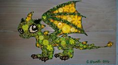 Button Art Green Dragon on Recycled Wood with Acrylic Paint Background #buttons #art #dragon