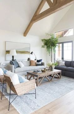 Beautiful Farmhouse Living Room Ideas! Find some of the best farmhouse themed living room decorations and designs that you can use for inspiration. We have modern farm home living rooms and more. Coastal Living Rooms, Living Room Grey, Living Room Modern, Home Living Room, Living Room Designs, Living Room Decor, Small Living, Coastal Cottage, Coastal Homes