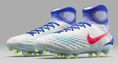 The new Nike Magista Obra 2 women's Olympics soccer boots introduce a spectacular look in white, blue and red.
